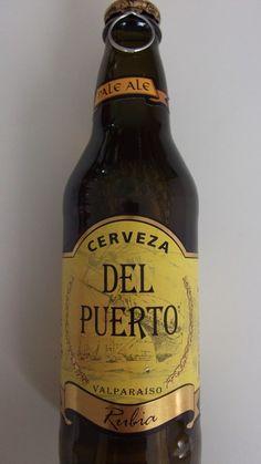 Cerveja Del Puerto Rubia, estilo Blond Ale, produzida por Cervecera Del Puerto, Chile. 4.5% ABV de álcool.