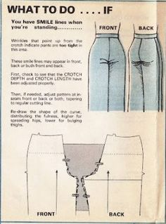 """Crotch Width: What Causes Crotch """"Smiles"""" – 7 Pine Design - Crotch Width: What Causes Crotch """"Smiles"""" – 7 Pine Design - Dress Sewing Patterns, Sewing Patterns Free, Free Sewing, Sewing Tutorials, Hand Sewing, Sewing Tips, Shirt Patterns, Clothes Patterns, Serger Patterns"""