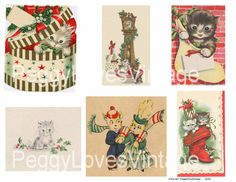 Christmas Kittens 1 Digital Collage from by PeggyLovesVintage, $2.50