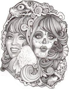 Two Ways by Mouse Lopez Sugar Skull Mask Tattoo Canvas Art Print – moodswingsonthenet
