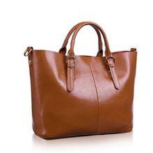 Women Genuine Leather Handbags Oil Wax Cowhide Shoulder Bags Composite Tote Bag Bolsas For Lady(China (Mainland))