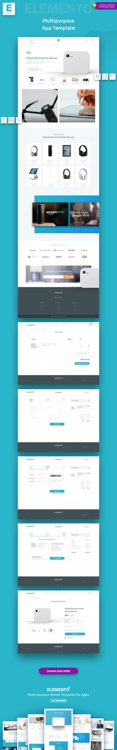 Elemento is a versatile/multi-purpose Sketch Template composed of 40+ flexible ready-to-use pages, structured to help jump-start your next web design project.  Suitable for: Tech business, App, Startups, Product presentation, Landing Page, SaaS Companies, Blog, Etc.