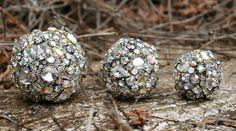 Vintage Rhinestones Crystals Ball Orb Sphere Ornaments Trio  Clear / Iridescent