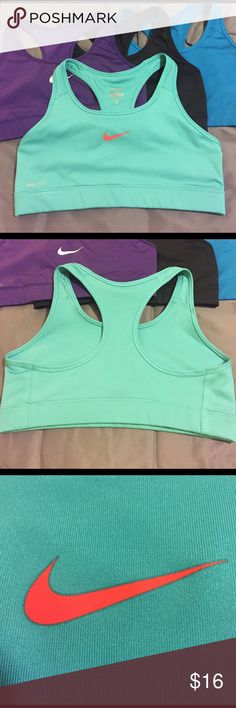 Nike Pro Dri-Fit Sports Bra Gorgeous color, no crackling on outer logos, only the inner printed tag. Excellent gently used condition. Just too big for me. Size medium. Matching shorts (size small) also listed in my closet. Nike Tops