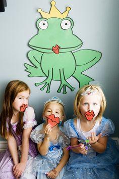 Pin the Kiss on the Frog Prince. Princess party