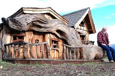 Using a chainsaw, Steve Blanchard carves whimsical, charming tiny homes (for fairies and gnomes) out of redwood stumps in Salinas, California.