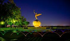Memorial Park in Jacksonville, Florida, United States Outdoor Dates, Riverside Park, Wedding Venues, Wedding Ideas, Memorial Park, Jacksonville Florida, Time Warp, Day For Night, Bronze Sculpture