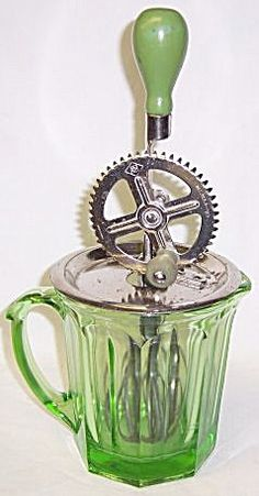 A and J Depression Glass Green 12 In BEATER TOP PITCHER