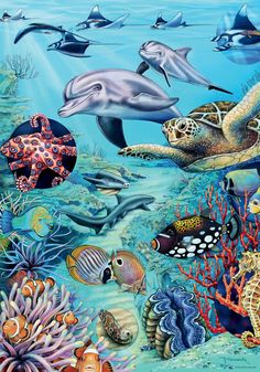 Tropical Waters, Flora & Fauna is a 500 piece jigsaw puzzle from Heye featuring artwork by M. x when complete. Nautical Colors, Nautical Art, Surfboard Painting, Dolphin Art, Seaside Art, Sea Tattoo, Coral Watercolor, Puzzle Art, Tropical Art