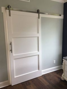 If you're looking for barn doors, but haven't the plunge - check out this post! 55 Incredible Barn Door Ideas: NOT Just For Farmhouse Style Barn Door Closet, Diy Barn Door, Barn Door Hardware, Door Latches, Door Hinges, Barn Style Sliding Doors, Double Barn Doors, Front Doors, Panel Doors