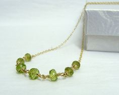 Jenna 45$ -- Faceted Peridot Necklace on 14ky by KatsEnchantedDesigns on Etsy
