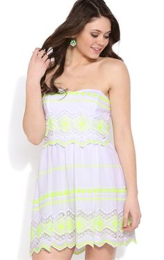 Strapless Dress with Neon Embroidery