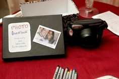 wedding guest book stick polaroids in - Google Search