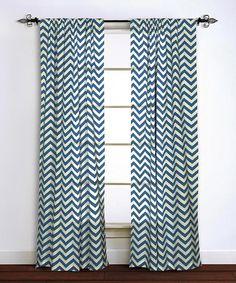 Loving this Navy Zigzag Curtain Panel on #zulily! #zulilyfinds