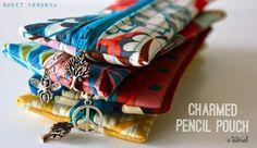 Sweet Verbena: Charmed Pencil Pouch Tutorial and an Etsy Shop! Diy Zip Pouches, Cute Pencil Pouches, Diy Pouch No Zipper, Pencil Bags, Pencil Holder, Zipper Bags, Zip Pouch Tutorial, Pencil Case Tutorial, Clutch Tutorial