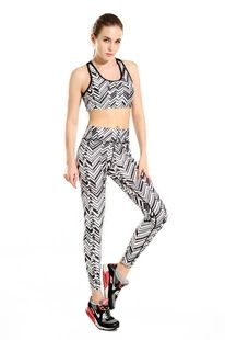 2016 黑白斜条纹显瘦 女士提臀运动透气吸汗九分瑜伽裤yoga-0010
