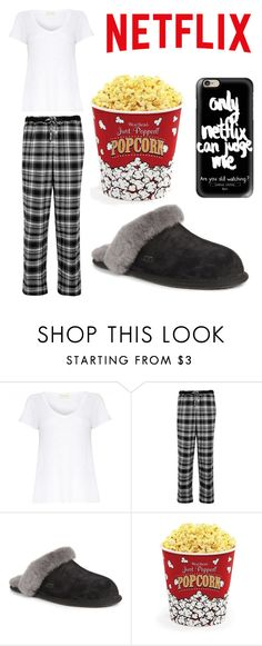 """""""Lazy Day with Neflix"""" by lfrye2080 ❤ liked on Polyvore featuring American Vintage, DKNY, UGG Australia, West Bend and Casetify"""