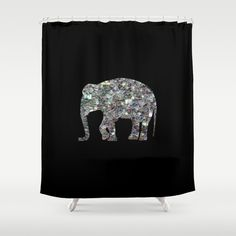 Sparkly+colourful+silver+mosaic+Elephant+Shower+Curtain+by+PLdesign+-+$68.00