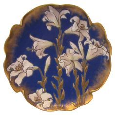 Large Sarreguemines Majolica Lilly Charger dated 1868 by The Old Stone Mansion a Ruby Lane Shop