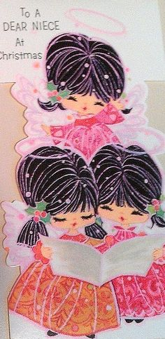 """Vintage Mod Christmas Card. Three caroling angels dressed in pink. Sentiment, """"To a Dear Niece at Christmas"""""""