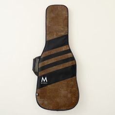 aged brown with black stripes cool monogrammed guitar case - modern gifts cyo gift ideas personalize