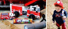 favors - book, firetruck matchbox car, lifesavers and a flashlight...every fireman needs one!