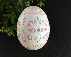 Easter Egg Carved and Wax Embossed Duck Egg Hand Painted