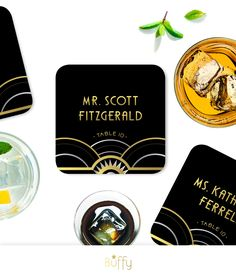 The ALICE . Escort Card Coasters . Art Deco Wave Great Gatsby 1920s Gold Silver Black Speakeasy Wedding . Includes unique Guest Names & Table Numbers or Names by BuffyWeddings on Etsy
