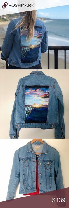 Unique hand painted denim jacket Sunset Do you want a super unique denim jacket? Painted Denim Jacket, Painted Jeans, Hand Painted, Fabric Painting, Fashion Tips, Fashion Design, Fashion Trends, Cool Outfits, Jean Jackets