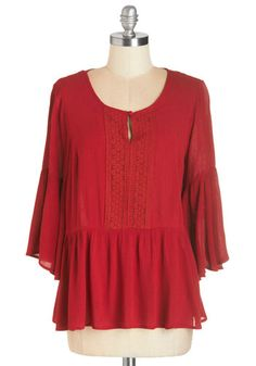 The Way You Aura Top. You exude a carefree sense of style when clad in this gauzy red top! #gold #prom #modcloth
