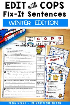 Are you tired of 'nagging' your students to edit their own writing? These COPS Fix It sentences are the answer! Students get extra practice reading, editing and rewriting the Winter-themed 5 sentence stories. Edit Writing with COPS is an engaging, effective way for students to remember how to edit their own writing! These engaging NO-PREP, Winter-themed, COPS Fix It sentences are a practical, no prep way for your students to practice essential editing skills. Editing Writing, Writing Lessons, Writing Resources, Teaching Strategies, Teaching Writing, Writing Activities, Essay Writing, Learning Resources, Fun Learning