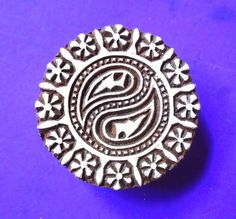 Round  3 inch Abstract Yin Yang Wood Stamp by PrintBlockStamps