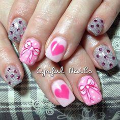 Valentine Nail Designs | rhinestones, bow, and hearts