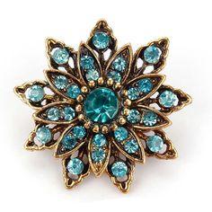 Antique Crystal Diamante Flower Brooch