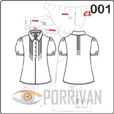 Выкройка блузки с рукавами фонариками и защипами на горловине — летняя модель. Кроить и шить её следует из тонких хлопковых тканей, в крайнем случае смесов