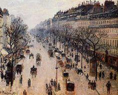 Camille Passiarro artist | Camille Pissarro's The Boulevard Montmartre on a Winter Morning