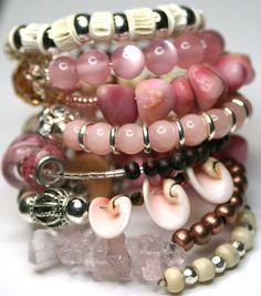 Beaded Wrap Bracelet  Memory Wire Bracelet Pink Bangle  Beaded Bracelet Cuff Pink Jewelry Stacked Bracelet  Most Beautiful Bracelet. $32.00, via Etsy.