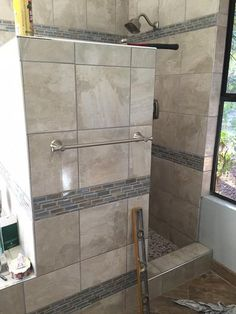 tile with ployblend unsanded Delorean Gray grout