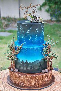 Blue printed wedding cake / http://www.deerpearlflowers.com/amazing-wedding-cake-ideas/4/