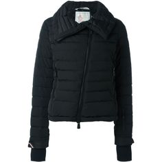 Moncler Grenoble padded jacket ($1,190) ❤ liked on Polyvore featuring outerwear, jackets, black, feather jacket, padded jacket, moncler grenoble, black jacket e black feather jacket