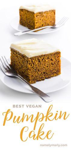 This is the BEST Easy Pumpkin Spice Cake Recipe ever! It creates a tender cake w. Best Vegan Desserts, Vegan Sweets, Vegan Recipes, Spice Cake Recipes, Sweets Recipes, Recipe Spice, Pumpkin Spice Cake, Vegan Pumpkin, Healthy Cake