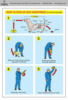"""Airline safety card style infographic created by Funnel Incorporated for Humane Society Dog Jog poking fun at pet etiquette with """"How to Pick Up Dog Droppings"""" instructions.Infographic created by Information Designer Lin Wilson of Funnel Incorporated, a… Technical Illustration, Technical Drawing, Graphic Design Illustration, Digital Illustration, Dog Separation Anxiety, Safety Instructions, Line Art Vector, Up Dog, Instructional Design"""
