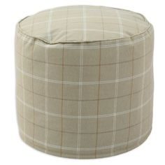 Check out this item at One Kings Lane! Elin Round Pouf, Khaki/Cream