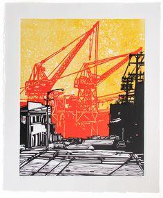 Dogpatch ~ Linocut (3 color), Rives BFK, 20 x 24 inch ~ Eric Rewitzer (3 Fish Studios)