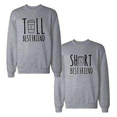 Details about Tall And Short Best Friends BFF Sweatshirts Matching Sweat Shirts - Sweat Shirt - Ideas of Sweat Shirt - Shirts Bff, Best Friend Sweatshirts, Best Friend T Shirts, Friends Sweatshirt, Best Friend Outfits, Cute Shirts, Funny Shirts, Best Friends, Best Friend Clothes