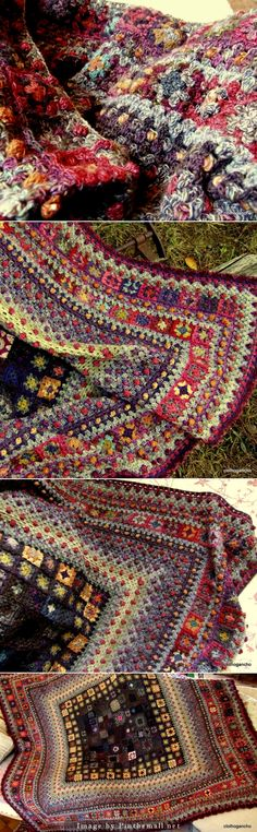 Granny Squares can sometimes seem repetitious, but not in this extraordinary blanket!  It looks like an oriental rug.  What colors!  http://clothogancho.canalblog.com/ In French, use Google Translate.