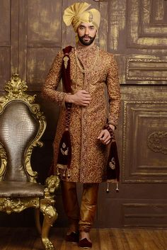 - Maroon Red and Tan Brown Jacquard and Brocade Embroidered Wedding Sherwani You are in the right place about bohemian Groom Outfit Here we offer you the most beautiful pictures abou Wedding Dresses Men Indian, Groom Wedding Dress, Groom Dress, Wedding Men, Wedding Suits, Indian Weddings, Ethnic Wedding, Farm Wedding, Wedding Couples