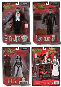 The Munsters action figures, available now. Eddie & Marilyn coming soon! Retro Toys, Vintage Toys, 1980s Toys, Gi Joe, Mundo Nerd, Batman Collectibles, Monster Toys, Movie Scripts, The Munsters