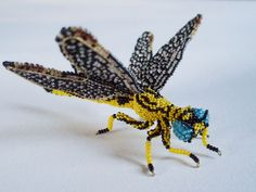 Bijou, Dragonfly.  Glass seed beads, wire, nylon thread.  I made this for my friend Susan McDaniel.