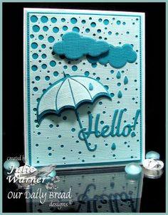 Our Daily Bread Designs Custom Hello Die, ODBD Custom Umbrellas Die, ODBD Custom Clouds and Raindrops Dies, ODBD Custom Flourished Star Pattern Die